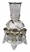 Kiddush Fountain Silver Plated Filigree Design Includes 6 Cups