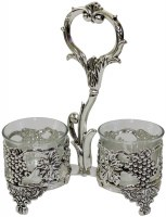 Silver Plated Salt and Pepper Holder Grape Design - Double
