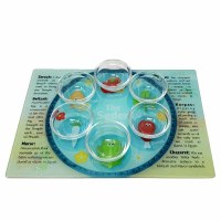 Seder Plate for Kids Tempered Glass Includes 6 Glass Bowls