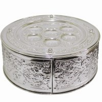 Seder Plate 3 Tiered Silver Plated Etched Leafy Design