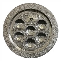 Seder Plate Silver Plated Floral Design 15""