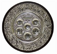 Seder Plate on Legs Wood and Silver Plated