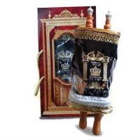Child Sefer Torah Velvet Cover Alef Beit Scroll Medium Size Navy