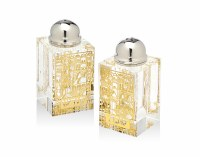 Crystal Salt and Pepper Shaker Set Jerusalem Scene Design Gold Plate