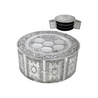 3 Tiered Seder Plate Kearah with Doors Silver Plated Floral Design