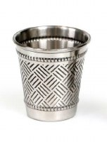Reviis Silverplated Kiddush Cup Small Size Woven Design