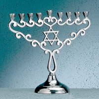 """Star"" Polished Aluminum Menorah"