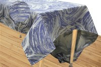 "Jacquard Tablecloth Blue and Grey Swirled Pattern on Light Silver Base Includes 5 Napkins 72"" x 160"""