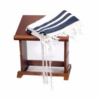 "Tallis Hadar Size 60 Navy Blue and White Wool Non Slip with Avodas Yad Thick Tzitzis and Middleband 55"" x 72"""