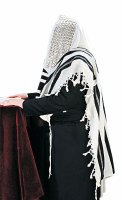 "Tallis Hadar Size 60 Black and White Wool Non Slip with Avodas Yad Thick Tzitzis and Middleband 55"" x 72"""
