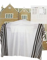 "Chabad Tallis Size 80 Wool Black and White Avodas Yad Thin Strings Cotton Lining 63"" x 100"""