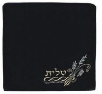 Tallis Bag Large Black Velvet Embroided with Wheat Corner Design