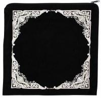 """Tallis Bag Black Large Velvet Four Corner Design 14.5"""" x 14"""""""