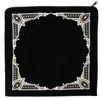 """Tallis Bag Black Large Velvet Four Corner Diamond Design 14.5"""" x 14"""""""