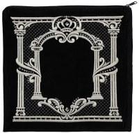 "Tallis Bag Black Large Velvet Double Pillar Crown Design 14.5"" x 14"""
