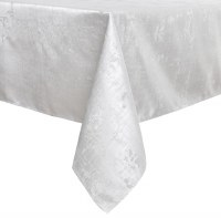 "Jacquard Tablecloth White and Silver Abstract Pattern 54"" x 72"""