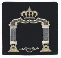 Tefillin Bag Navy and Gold Crown and Arch Design Size Large