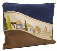 Tefillin Bag Faux Leather Jerusalem Scene Design Blue Brown