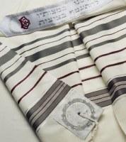 Talitania Hermon Wool Tallis Bordeaux Silver Size 60