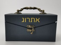 Leather Esrog Box Rectangle Navy