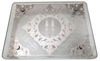 """Glass Candlesticks Tray Silver Plated Shabbos Design 12"""" x 16"""""""