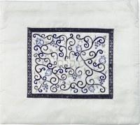 Yair Emanuel Embroidered Tallit Bag Blue on White