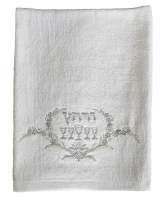 Pesach Towel White Embroidered with Cream and Silver 'Four Cups' Design