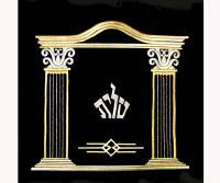 Tefillin Bag Black Velvet Golden Pillars Design