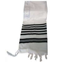 "Traditional Wool Tallis Size 24 in Black and White Stripes Machine Made Tzitzis Strings 24"" x 72"""