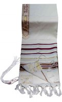 """Tallis Traditional Lurex Wool Size 24 Maroon and Gold Stripes 24"""" x 72"""""""