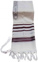 "Tallis Traditional Lurex Wool Size 36 Maroon and Silver Stripes 36"" x 72"""