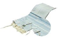 """The Sapir Tallis Wool Designed with Slate Blue and Silver Stripes 51"""" x 72"""""""