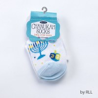 Baby Chanukah Socks Menorah and Dreidel Design Size 12-24 Months