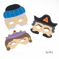 Set of 3 Purim Masks - Esther, Haman & Mordechai Purim Costume Accessory