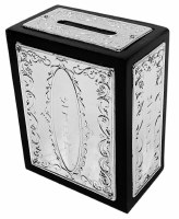 Tzedakah Box Wood and Silver Plated Elegant Design
