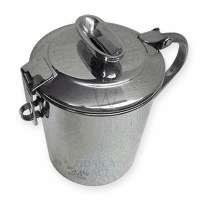 Stainless Steel Tzedakah Box with Attached Lock and Handle Funneled Slot