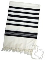 "Tallis Wool Kemo Turkish Lining with Traditional Black Stripes 64"" x 88"""