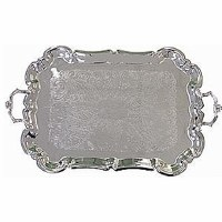 Silver Plated Tray with Handles Wave Design