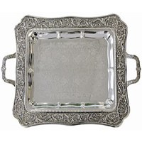 Silver Plated Tray with Handles Vine Design