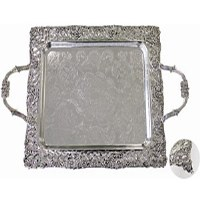 Serving Tray with Handles Silver Plated Floral Design