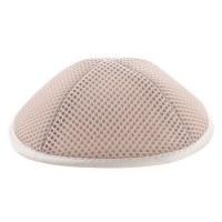 Mesh Kippah with Pin Spot Off White 19cm