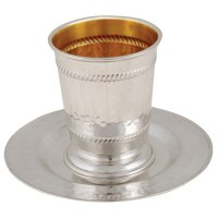 Kiddush Cup with Matching Saucer Diagnol Lined Border Design