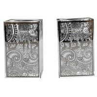 Square Crystal Candlestick Set with Metal Plate Swirl Design