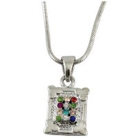 Necklace Silver Rhodium with Colored Stones