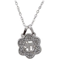 Necklace Silver Rhodium Star of David Sorrounding Hebrew Chai