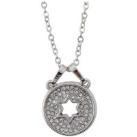 Necklace Silver Rhodium Round Pendant with Star of David Cutout