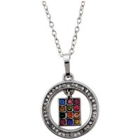 Necklace Silver Rhodium Round Pendant with Multicolor Stones in the Center