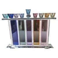 Menorah Crystal Colorful Branches Elevated with Rectangle Filled Beads and Stripes