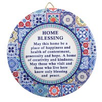 Home Blessing English Round Ceramic Decoration Geometric Mosaic Design