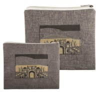 Tallis and Tefillin Bag Set Grey Linen Jerusalem Design